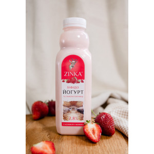 Zinka Біфідойогурт з козиного молока  зі смаком полуниці 2,8% жиру  /510г /