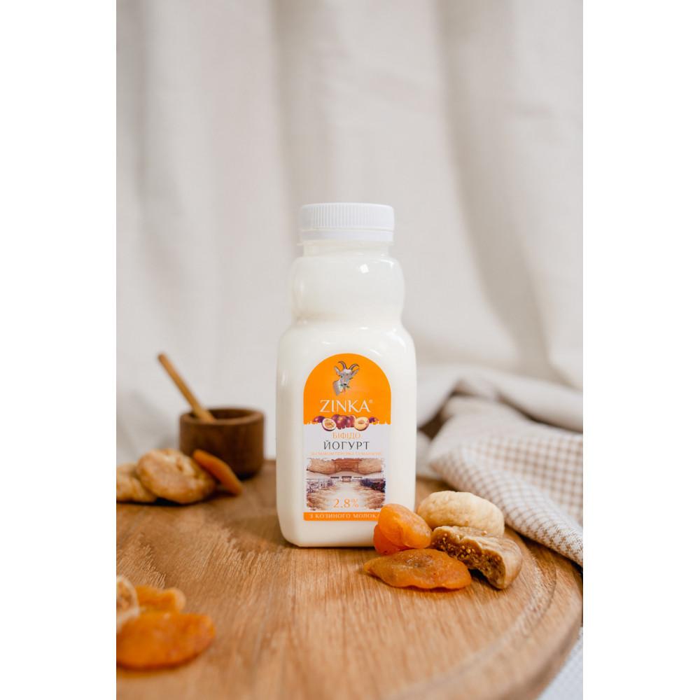 Zinka Біфідойогурт з козиного молока  зі смаком персика та маракуйя  2,8% жиру /300г /