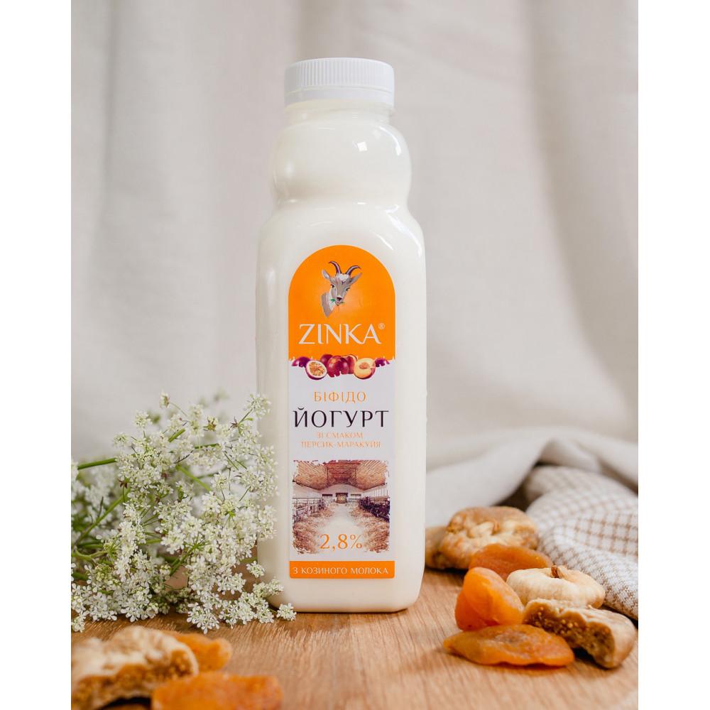 Zinka Біфідойогурт з козиного молока  зі смаком персика- маракуйя 2,8% жиру /510г /