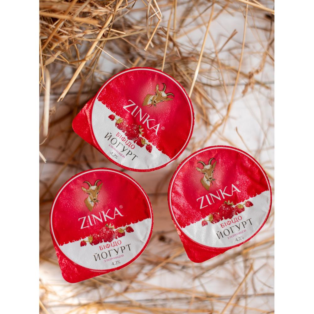 Zinka Біфідойогурт з козиного молока  з полуницею 4,2% жиру /100г /